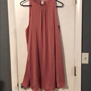 Pink satiny swing dress